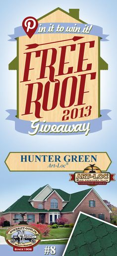 Re-pin this gorgeous Art-Loc Hunter Green Shingle for your chance to win in the Sherriff-Goslin Pin It To Win It FREE ROOF Giveaway. Re-pin weekly for more chances to win! Available in Sherriff-Goslin service area only. | Stay Updated! Click the following link to receive contest updates. http://www.sherriffgoslin.com/repin Learn More about this shingle here: http://www.sherriffgoslin.com/tabbed.php?section_url=140