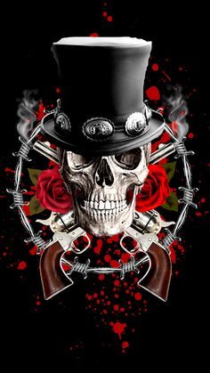 Guns N Roses, Rock And Rool, Digital Foto, Rock Band Posters, Rock Tattoo, Heavy Metal Art, Gothic Fantasy Art, Skull Pictures, Band Wallpapers