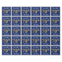 Elegant Blue Faux Gold 70th Birthday  Name Wrapping Paper - paper gifts presents gift idea customize