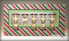 Art Impressions Rubber Stamps:  Reindeer mini front & back stamps  (Sku #4507) ...handmade card. Christmas