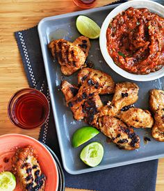 Australian Gourmet Traveller recipe for spiced chicken wings with roast garlic and chipotle salsa. Barbecue Chicken, Tandoori Chicken, Bbq, Salsa Chicken, Chicken Spices, Chicken Recipes, Chipotle Salsa Recipe, Fingers Food, Healthy Cooking