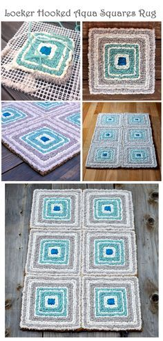 Locker Hooked Aqua Squares Rug in wool roving, Color Crazy fabric strips, silk--by Theresa Pulido Locker Hooking, Rug Hooking, Yarn Projects, Crochet Projects, Yarn Crafts, Fabric Crafts, Tapetes Diy, Homemade Rugs, Latch Hook Rugs