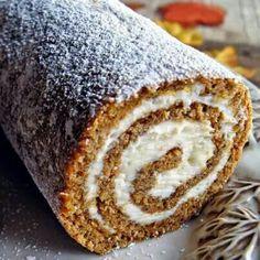 Cream filled pumpkin roll