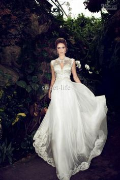 Wholesale Wedding Dresses - Buy New Arrival 2014 Wedding Dresses High Collar Tulle A-Line Garden Beach Bridal Gowns Dress for Wedding Lace Applique Backless Custom Made, $174.0 | DHgate