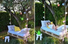 Ingenious DIY Backyard Furniture Ideas Everyone Can Make Spring is here, it is the perfect time to give your boring backyard a fresh look. DIY furniture can make your backyard look awesome. Pallet Swing Beds, Wood Swing, Pallet Swings, Diy Swing, Backyard Furniture, Diy Furniture, Palette Diy, Palette Swing, Diy Projects For Kids