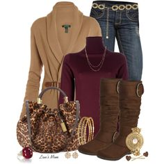 Jeans Outfit (Wine + Brown + Leopard)