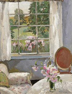 ◇ Artful Interiors ◇ paintings of beautiful rooms - A sunny corner, Allan Walton. (1891 - 1948)