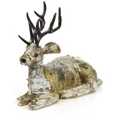 Shea's Wildflower Birch Bark Reindeer ($63) ❤ liked on Polyvore featuring home, home decor, holiday decorations, dark beige, christmas deer figurines, ivory figurines, reindeer figurine, white dove figurines and holiday reindeer decorations