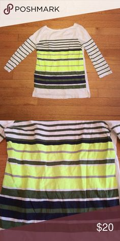 J.Crew Stripe Neon Tee J.Crew Stripe Neon Tee. Stripe detail on the front and sleeves . Size XS . 3/4 length sleeves. Great condition J. Crew Tops Tees - Long Sleeve