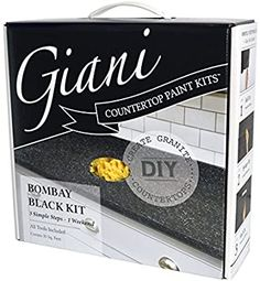 Giani Granite Bombay Black Countertop Paint Kit FG-GI Bombay at The Home Depot - Mobile Spray Paint Countertops, Resurface Countertops, Slate Countertop, Outdoor Kitchen Countertops, Painting Countertops, Painting Cabinets, Giani Granite, Granite Paint, Countertop Transformations