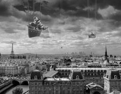 """Thomas Barbey: Sowing the Seeds of Love - http://thomasbarbey.com ~ Every year people travel to Paris with hopes of either falling in love, recapturing love or just simply being with the one you love. There is a sense of magic about Paris that brings romance and fantasies to our mind. This image plays out those fantasies. The costumed men, who I   shot during the Carnival in Venice, are like marionettes coming down from the sky spreading the """"magic seeds of love."""""""