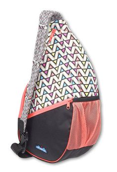 """KAVU$04Paxton Pack-Electric Ave-Adjustable rope shoulder strap, main compartment with zip closure, external and internal zip pockets, exterior mesh pocket, internal key clip. Dimensions: 19"""" x 9"""" x 5"""". Fabric: 12oz cotton canvas / 600D polyester."""