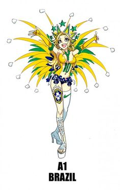 Brasil mundial moe 381x600 Equipos del Mundial de Fútbol 2014 convertidos en chicas de anime