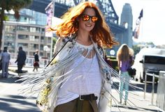 Taylor Tomasi Hill. ModaOperandi Creative Director at Sydney Fashion week in her own brand of chic...