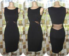 Vintage 80s Dress  1980s Sheer Waist Dress  90s by IntrigueU4Ever
