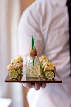 Patron shots and mini tacos! These mini tacos drive me bananas! Mini Tacos, Tapas, National Margarita Day, Think Food, Hors D'oeuvres, Le Diner, Mini Foods, Antipasto, Rehearsal Dinners