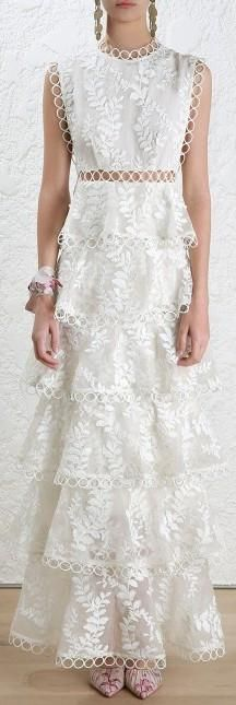 'Winsome' Tier Vine Dress, White