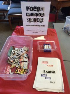 "What a fantastic idea for Poetry Month! Cut out words from various magazines and set them out with paper and gluesticks - diy poetry station! ""April is Stop in the library to create your own poem! Middle School Libraries, Elementary Library, School Library Lessons, Library Skills, School Library Decor, Library Week, Library Ideas, Teen Library Space, Library Center"