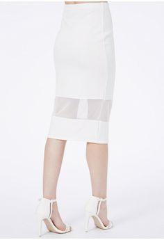 Ermelinda Mesh Detail Midi Skirt - Skirts - Midi Skirt - Missguided