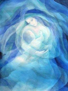 Mother and child prophetic art in blue.