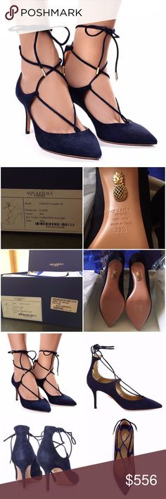"""AQUAZZURA Christy 75 Pumps in Ink - NEW IN BOX! BRAND NEW IN BOX! ALL ORIGINAL PACKAGING--MINT CONDITION! Got them as a gift, but they aren't my size   Smooth """"Ink"""" (Navy) suede Aquazzura pumps in a pointed-toe silhouette. Lace-up ties finished with polished aglets. Covered heel and leather sole.  •Lace-up styling revamps iconic suede point-toe pump •Self-covered heel, 3"""" (75mm) •Suede upper •Point toe •Lace-up style •Leather lining & sole •Padded insole  *Fits small-brand recommends a 1/2…"""