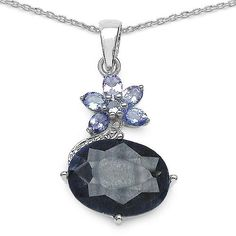 Blue Sapphire & Tanzanite Sterling Silver Pendant Necklace