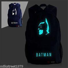Batman Side face Canvas Backpack  School Bag (Multiple-Color)