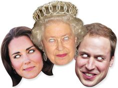Diamond Jubilee 2012 - Royal Family Face Mask Set of 3 Masks (the Queen, Kate Middleton and Prince William) includes Commemorative Photo Prince William And Kate, William Kate, Royal Diamond, Queen 90th Birthday, Face Mask Set, Celebrity Faces, Photo Quality, Queen Elizabeth Ii, Kate Middleton