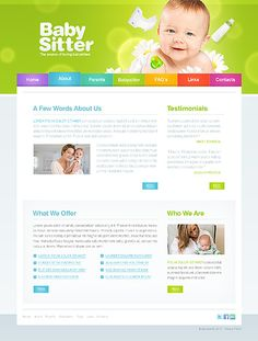 Baby Babysitter Website Templates by Mercury