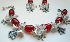 Christmas Tree and Snowflake Bracelet http://www.etsy.com/listing/112750379/christmas-bracelet-and-earrings-red#