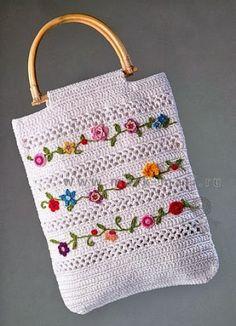 Cool Crochet Handbag: charts ༺✿ƬⱤღ https://www.pinterest.com/teretegui/✿༻