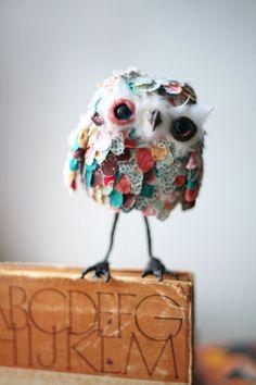 owl - chercheto, make with styrofoam ball as base?