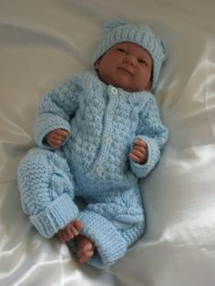 Knitted Overalls and Hat Set in Blue For by Meganknits4charity, £15.00