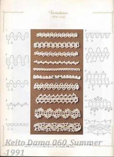"Photo from album ""Keito Dama 060 Summer 1991 on Yandex. Crochet Edging Patterns, Crochet Borders, Crochet Stitches, Crochet Edgings, Patron Crochet, Irish Crochet, Crochet Lace, Point Lace, Crochet Magazine"