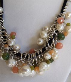 Pearls with peach quartz and jade necklace