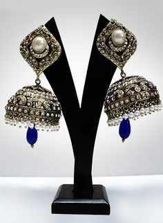 #Blue and #White Stone Studded #Earring