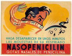 NASOPENICILIN. Gotas nasales. Publicidad de mostrador. Farmacia. Años 1950s. 22 x 17 ctms. (Papel - Carteles Gran Formato - Carteles Publicitarios)
