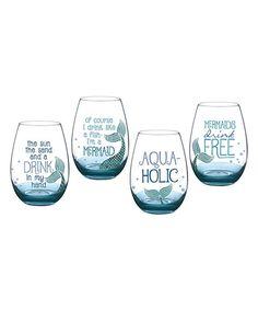 Wine Glasses Look what I found on Blue Mermaid Stemless Wine Glass - Set of Four Wine Glass Sayings, Wine Glass Crafts, Wine Craft, Wine Glass Set, Bottle Crafts, Beer Crafts, Diy Wine Glasses, Painted Wine Glasses, Stemless Wine Glasses