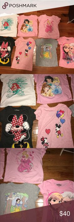 Disney bundle Disney girls bundle of 7 shirts size medium(7-8) in good condition. Pink frozen shirt has a small stain. Characters are little mermaid, Minnie, Minnie and Mickey, frozen (Anna and Elsa), sleeping beauty, princess( Cinderella, belle and princess jasmine), and Snow White. Grey Minnie and pink frozen shirt are from target. Other 5 are from the Disney store. Disney Shirts & Tops Tees - Short Sleeve