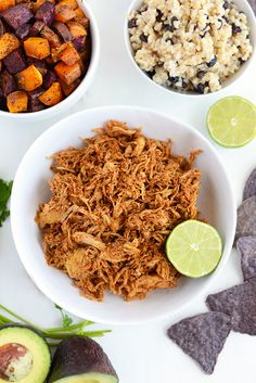 Make these clean eating crock-pot chicken taco bowls at the beginning of the week to meal prep for the days to come! It's gluten and preservative free!