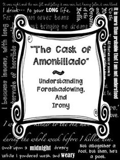 Cask of Amontillado - Irony Worksheet | Of