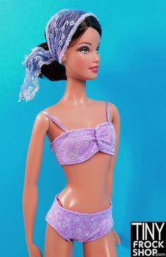 Barbie Lavender Sparkly Swim Set
