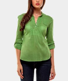 Take a look at this Green Harrison Three-Quarter Sleeve Top by Almatrichi on #zulily today!