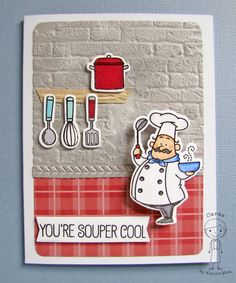 """MFT """"Recipe for Happiness"""" stamps and dies. The little chef is on an Action Wobble #mft"""