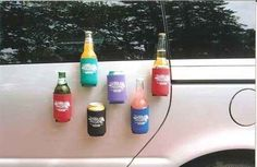 Use magnets to attach beer cozies to the side of your car. | 39 Clever Tailgating DIYs To Get You In The Spirit