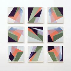 """Untitled 3.17.14 Nine 20""""x20"""" panels. Acrylic on canvas."""