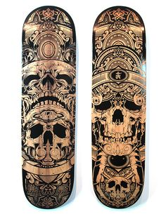 "Hydro74 Laser Etched Decks by Joshua M. Smith http://www.hydro74.com ""Recently Neon Forest in Orlando hosted a solo gallery show of my work, thus in gathering pieces, I had these laser etched decks done up.  The fine detail and crisp lines made these pieces stand out from a lot of laser etchings I've done before hand."""