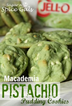 Spice Gals: Macademia Pistachio Pudding Cookies - for St. Pat's or GB Packers or just because I love pistachio anything Cookie Desserts, Cookie Recipes, Dessert Recipes, Jello Pudding Recipes, Cheesecake Pudding, Yummy Cookies, Sugar Cookies, Almond Cookies, Chocolate Cookies