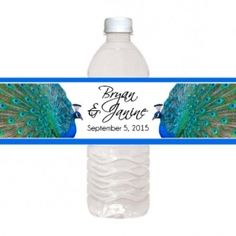 Peacock Water Bottle Labels, Peacock Party Supplies