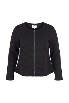 The waisted jersey jacket made of honeycomb-structured jersey by Zizzi is a true all-rounder with its favorable cut.  Round neckline with zipper.  The slightly elastic material ensures freedom of movement and comfort.  Straight hem chest darts.  Comfortable as a cardigan and elegant as a blazer it not only makes you dress up but also blouse and skirt or trousers simply style and according to your desire elegant to wear business as well as festive looks or casual to leisure looks.    Color…